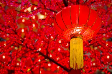 Chinese lanterns with red background