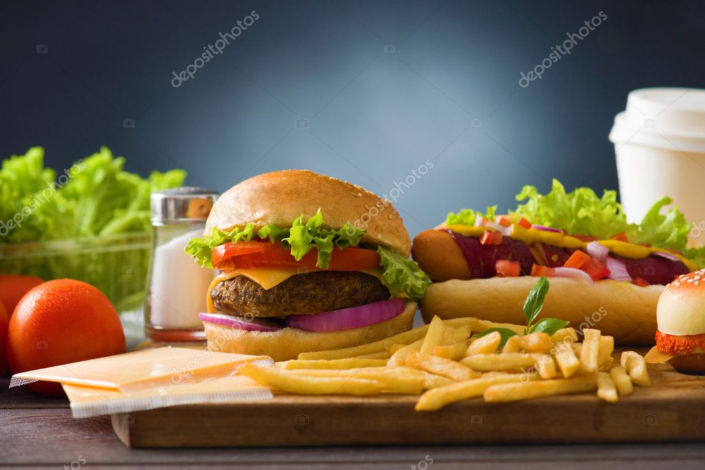 Fast food hamburger, hot dog menu with burger, french fries, tomato ,cola and many mor stock vector