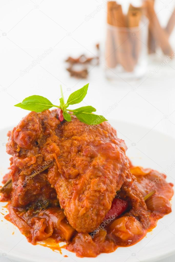 Curry Chicken Indian Cuisine With Traditional Food Items On Bac