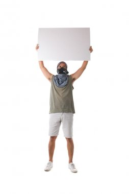 protestor isolated in white