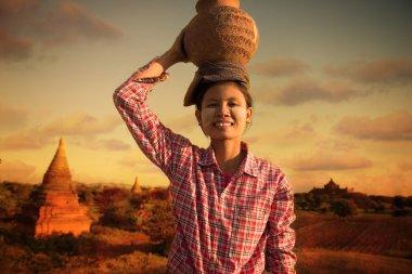 Happy asian traditional farmer harvest at myanmar