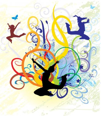 Abstract background with dancing girls