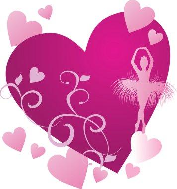 ballerina dancer magenta heart with spring flowers