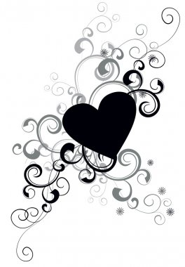 black heart silhouette with decorative flourishes
