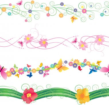 flowers and butterflies borders vector isolated on white for easter and mothers day