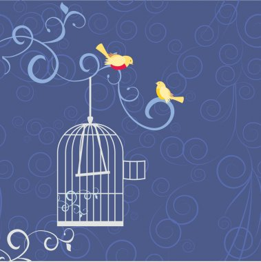 two birds on the tree brunch in love out from cage