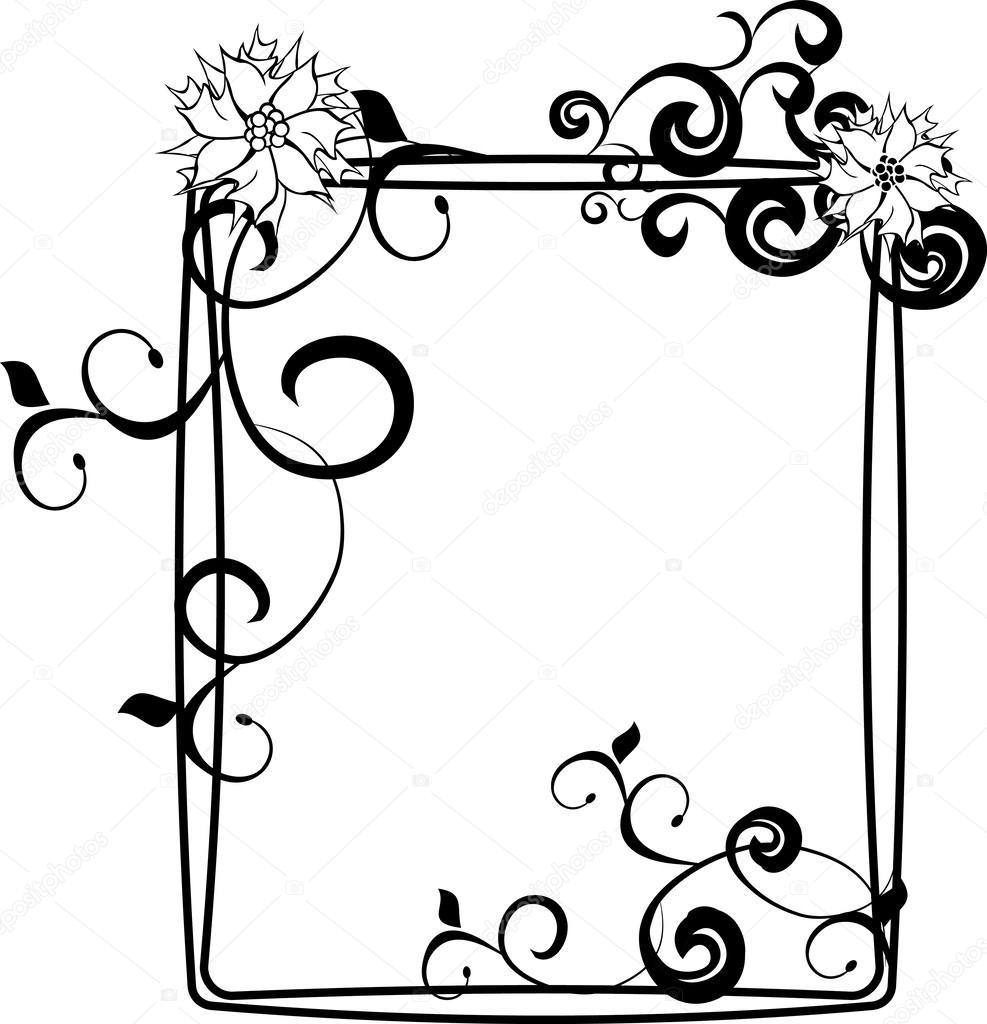 Marco Flores blanco negro — Vector de stock © cherju #24546559