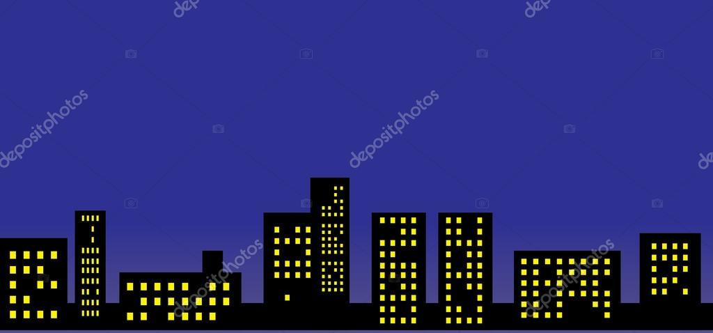 Night city silhouette on the night sky background — Stock