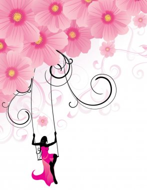 pink flowers cosmos and woman in gown sitting on the swings silhouette on white background