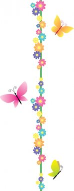 Cartoon butterfly and flowers banner
