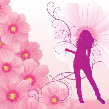 pink cosmos flowers girl dance