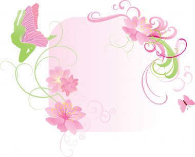pink fairy and flowers vector