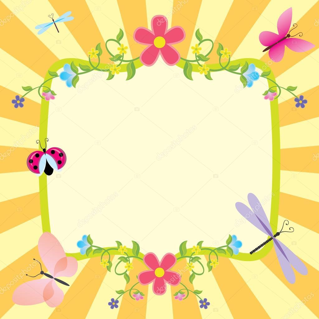 dibujos animados de verano marco o primavera Pascua — Vector de ...