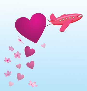 Vector flying plane with hearts and flowers in the sky