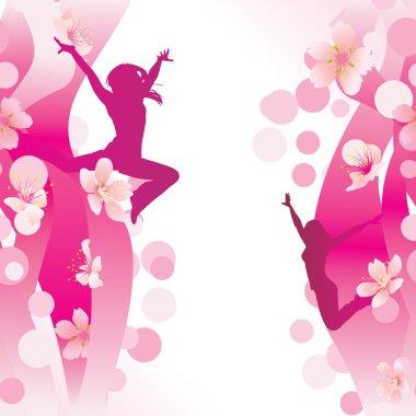 jumping women on pink flowers backdrop