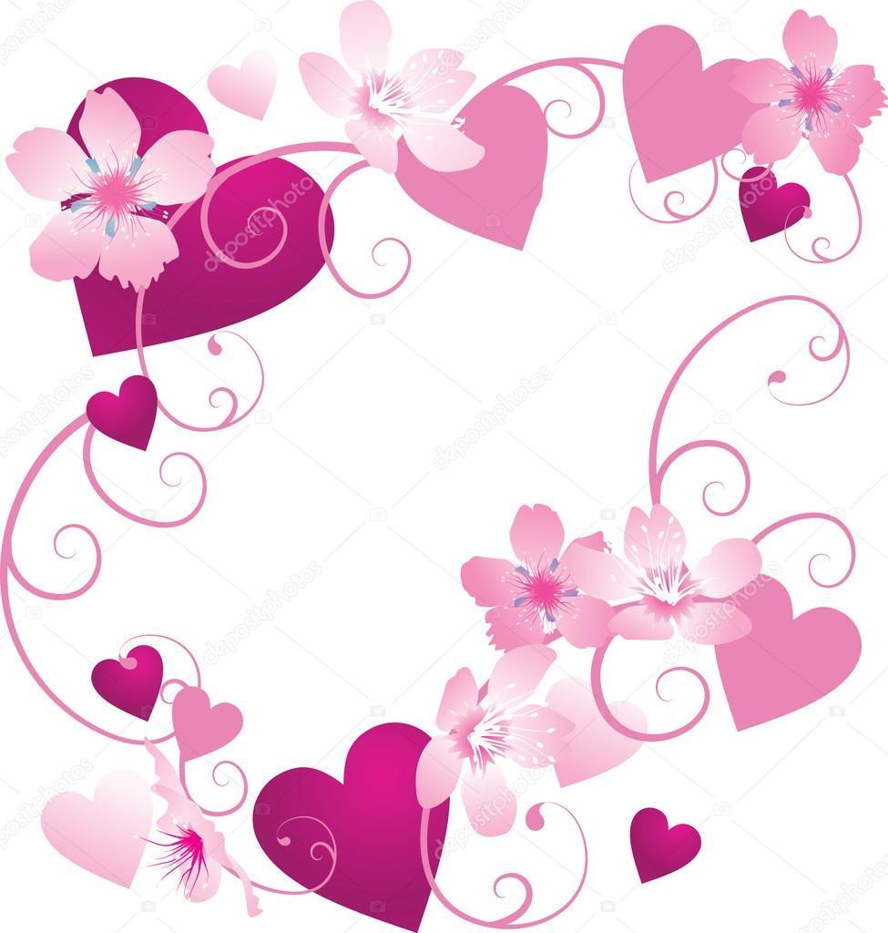 marco de corazones de color rosa y púrpura con decoración floral ...