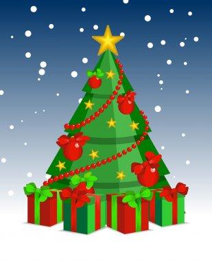 Christmas tree cartoon night