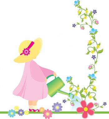 vector girl in pink dress and yellow hat watering flowers in the garden