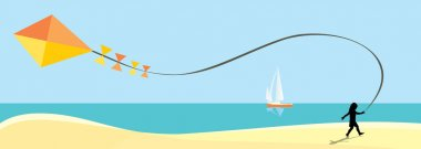 vector panoramic cartoon sunny day beach with white boat in the blue sea and running child with kite