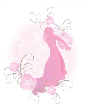 vector woman and pink roses