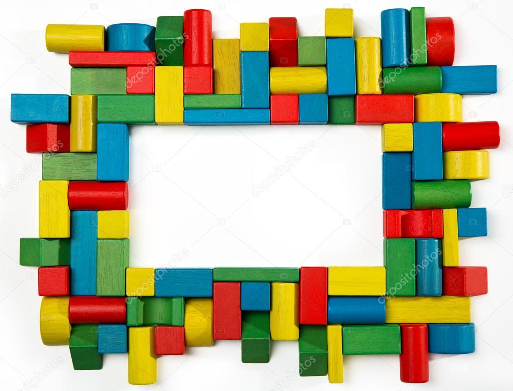 marco de bloques de juguetes, rompecabezas de madera multicolor ...