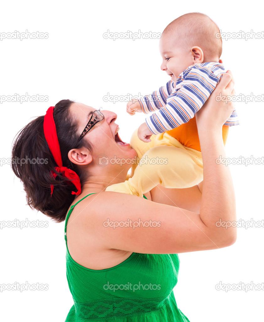 年轻的母亲3图片图库_幸福的母亲和儿童 — 图库照片©Xalanx#14740661