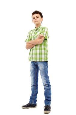Teenager in plaid shirt, full length