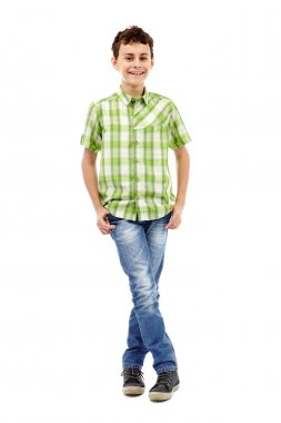 Teenager in plaid shirt, full length