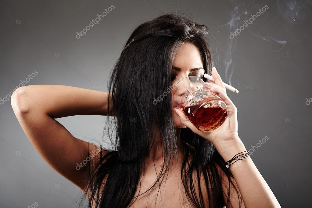 sexy women smoking and drinking