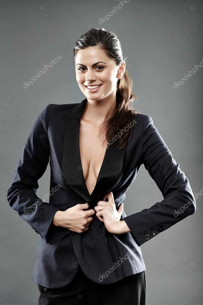 Sexy Businesswoman With Suit Over Nude Breasts  Stock Photo  Xalanx 32086277-8120