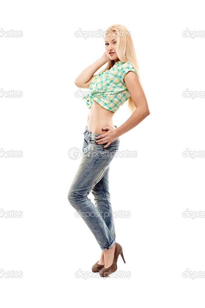 Сексуальная блондинка в джинсах