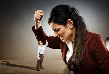 Angry businesswoman ready to crush the courageous subordinate who is confronting her stock vector