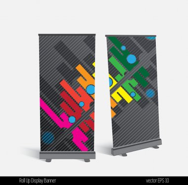Roll up banner display template