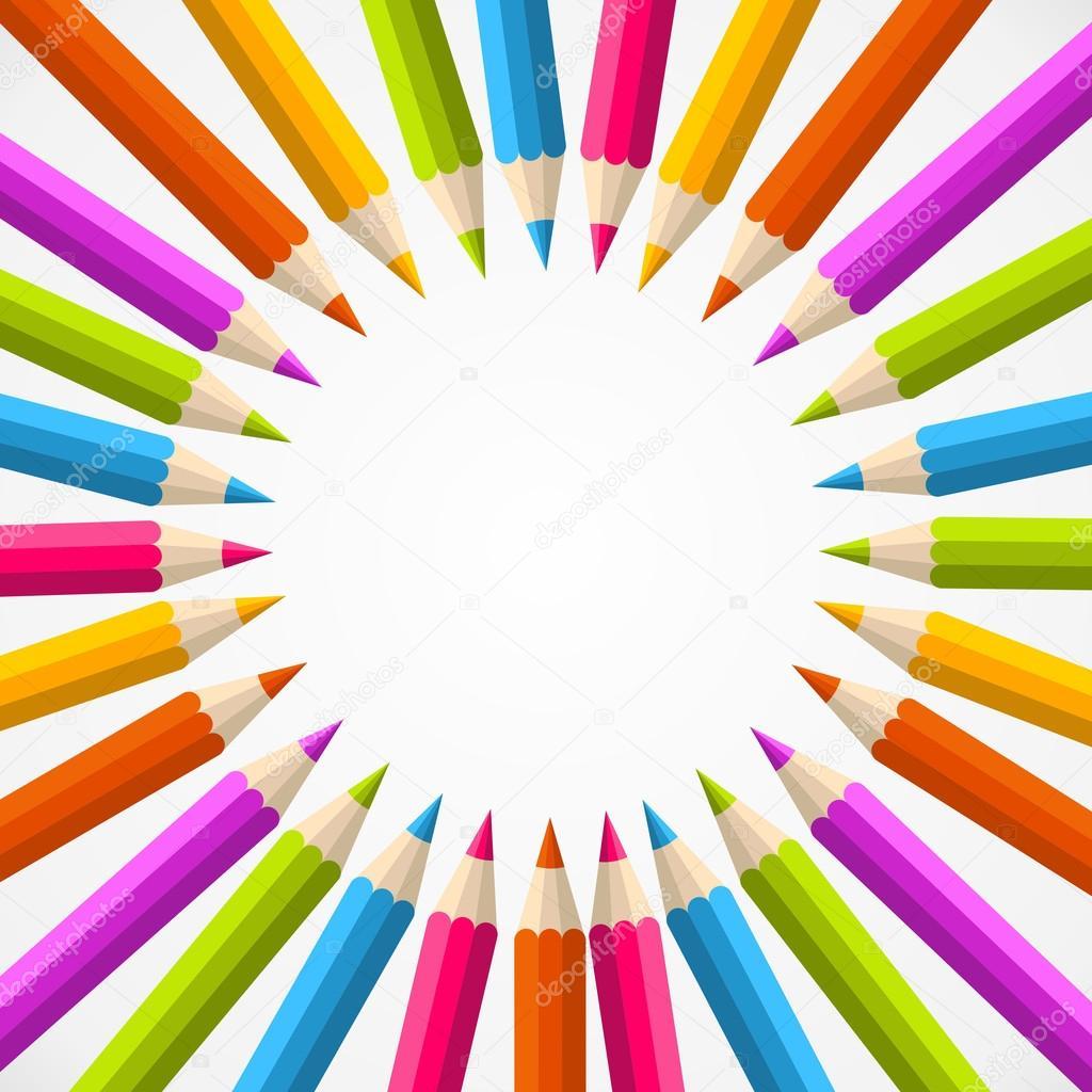 volver al círculo escuela lápiz del arco iris — Vector de stock ...