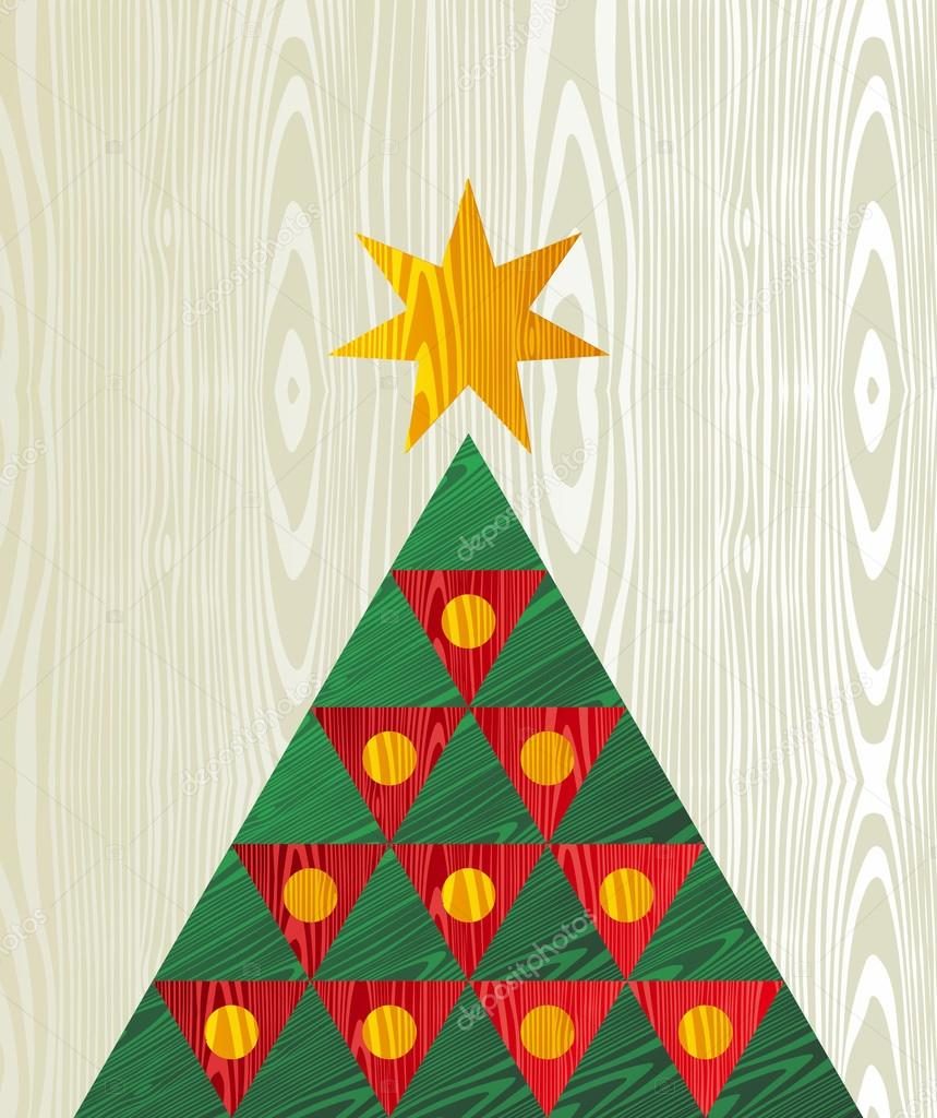 Christmas tree wooden textured shape greeting card — Stock Vector ...