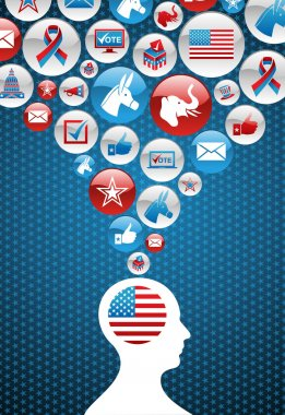 USA political elections decision man with icons