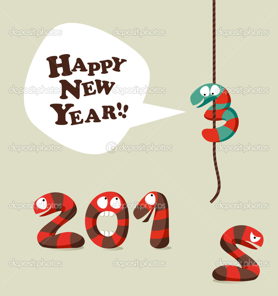Komik Yılan Mutlu Yeni Yıl 2013 Tebrik Kartı Stok Vektör