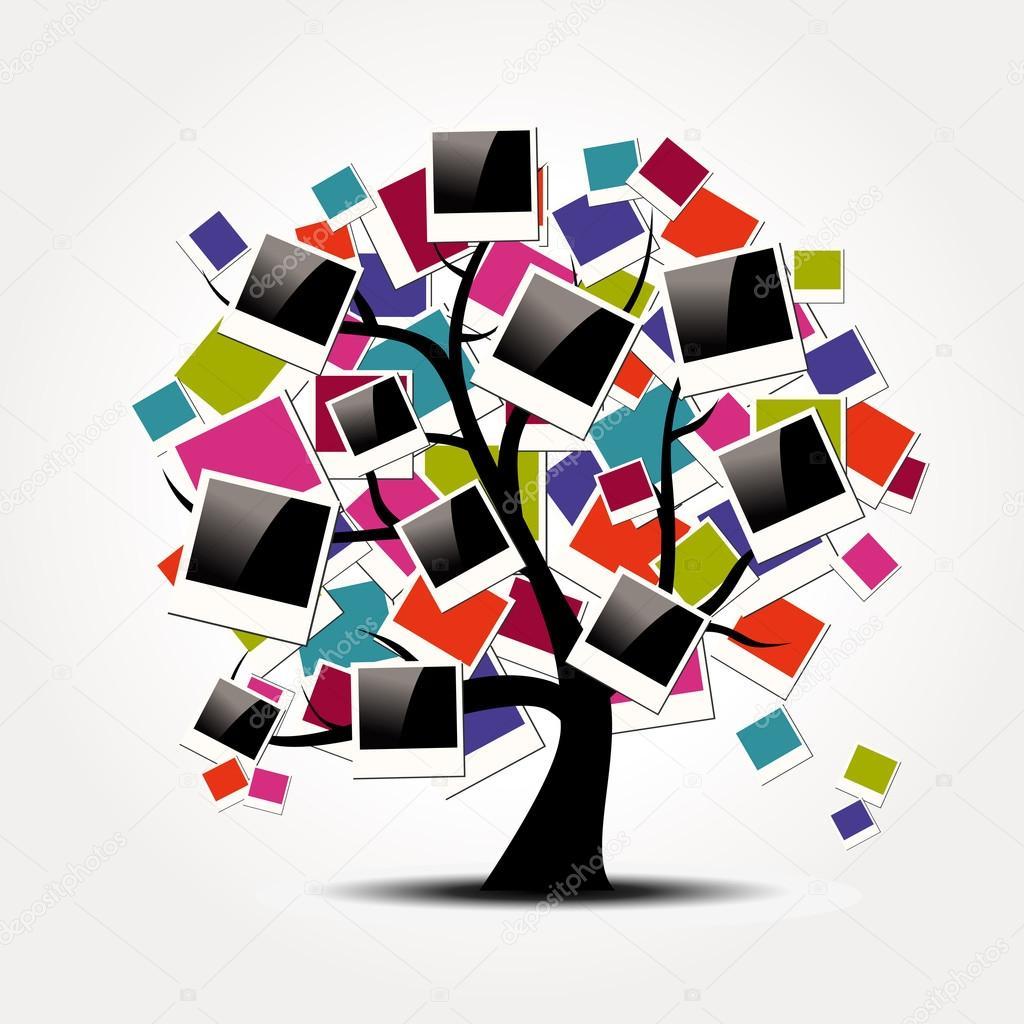 Speicher-Stammbaum mit Polaroid-Foto-Rahmen — Stockvektor © cienpies ...