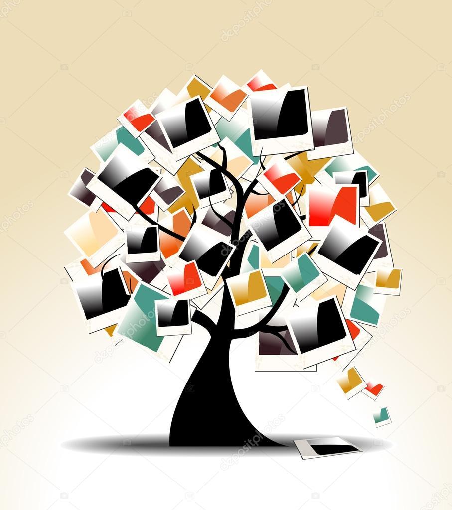 árbol genealógico retro con marcos de fotos polaroid — Vector de ...