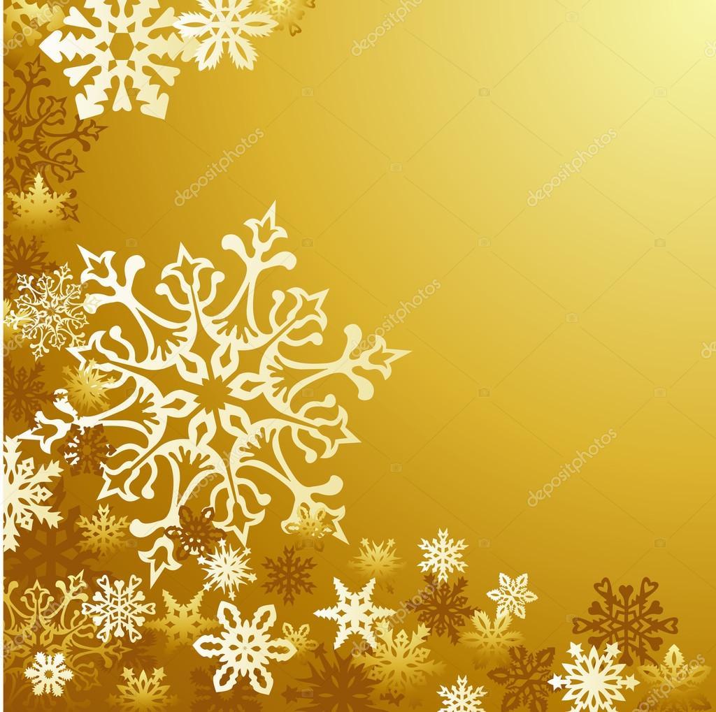 fondo dorado de los copos de nieve de Navidad — Archivo Imágenes ...