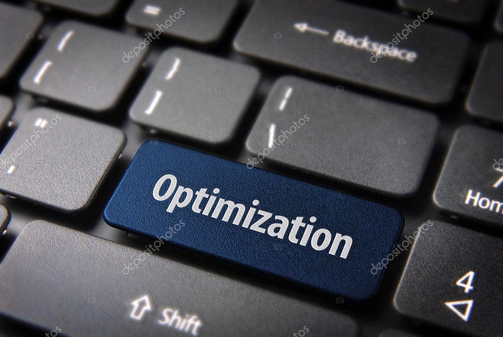 Blue Optimization keyboard key, business background