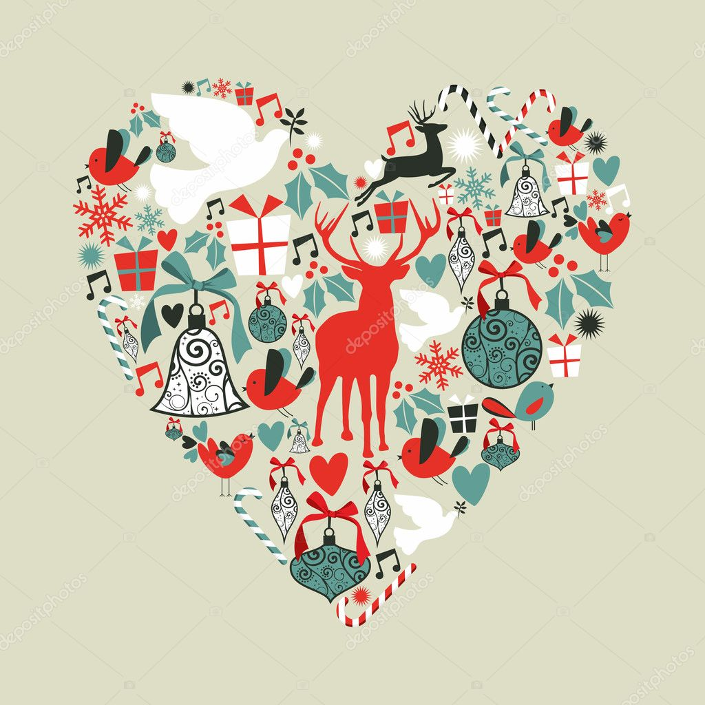 Christmas icons in love heart