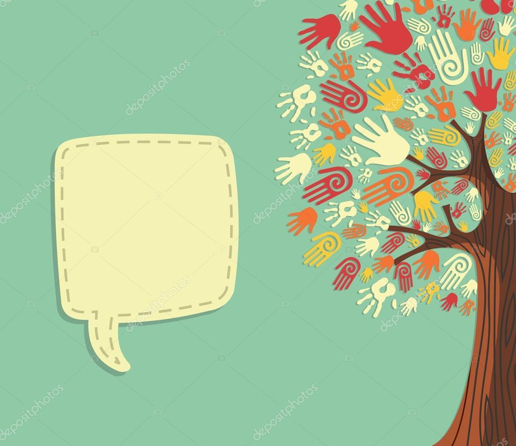 çeşitlilik Ağaç El şablonu Stok Vektör Cienpies 14137376