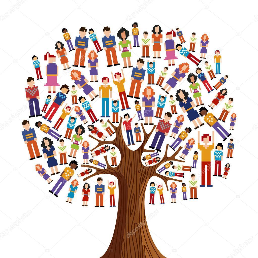Diversity pixel human tree