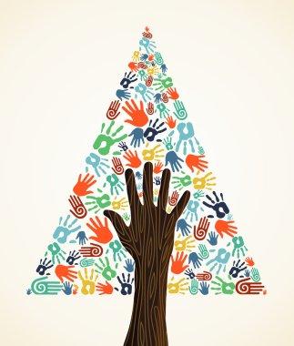 Diversity Christmas pine Tree hands