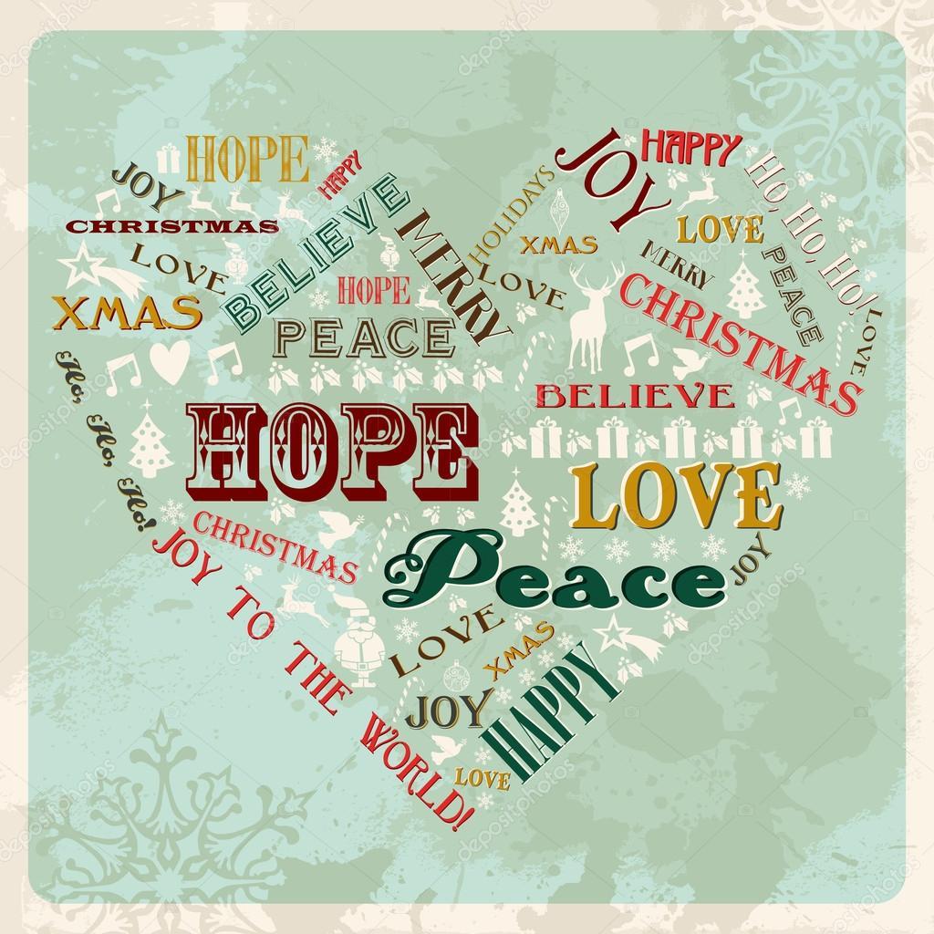 Vintage merry christmas concept heart — Stock Vector © cienpies ...