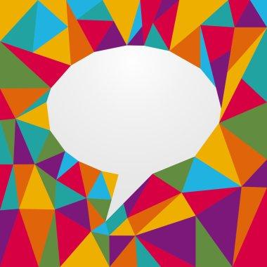 Multicolored origami speech bubble