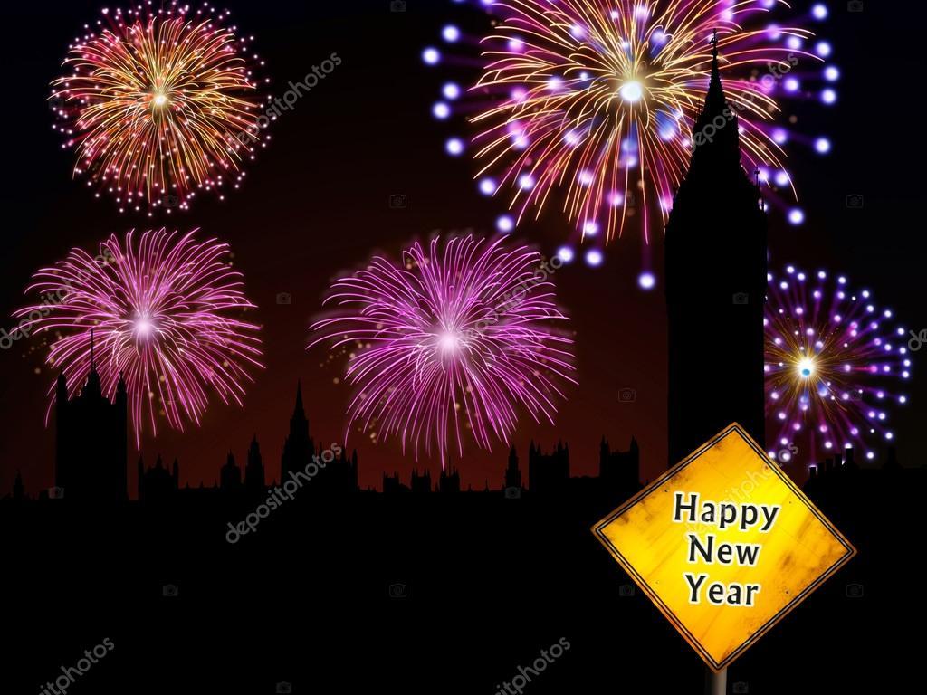 Frohes neues Jahr Englisch Feuerwerk — Stockfoto © cienpies #16759867