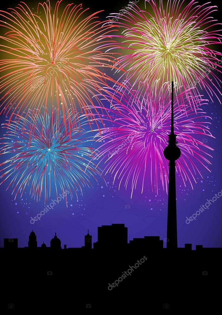 happy new year fireworks germany landmark stock vector