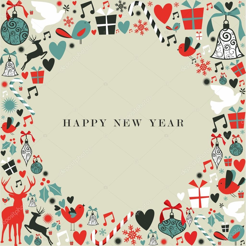 Christmas Simgeleri 2013 Mutlu Yeni Yıl Stok Vektör Cienpies